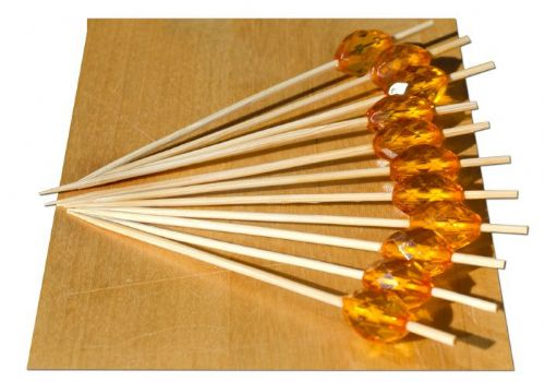 Amber Crystal bead wood skewer  9cm x 100 - GOTO